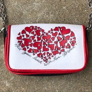 Brighton hearts wristlet with crossbody strap